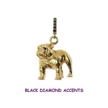Stunning Standing Bulldog in 14K Gold or Sterling Silver with Black Diamond Accents