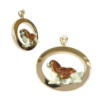 14K Gold Oval with Cavalier King Charles Spaniel Featuring Personalized Enamel Artwork