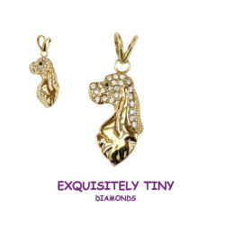 14K Gold Cocker Spaniel Charm Pavé in Full Cut Diamonds