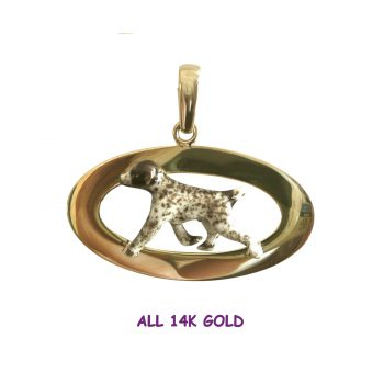 ALL 14K Gold Superb German Shorthaired Pointer Enamel on Oval Frame