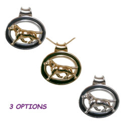 Labrador Retriever in Enhancing Large Sterling Silver or 14K Gold Black Grooved Oval