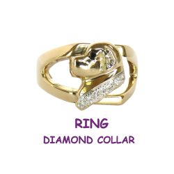 14K Gold Newfoundland Head Ring with Inset Diamond Collar