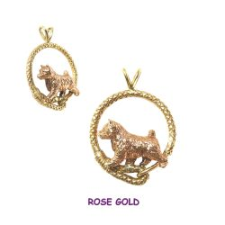 Stunning 14K Rose Gold Norwich Terrier in 14K Yellow Leash