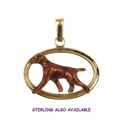 Superb Vizsla Enamel in Double Oval with 14K Gold and Sterling Choices