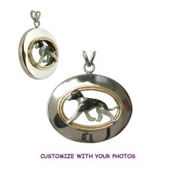Superb Whippet Enamel in Sterling Oval with 14K Accent