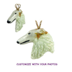 14K Gold or Sterling Borzoi with Personalized Color Artwork
