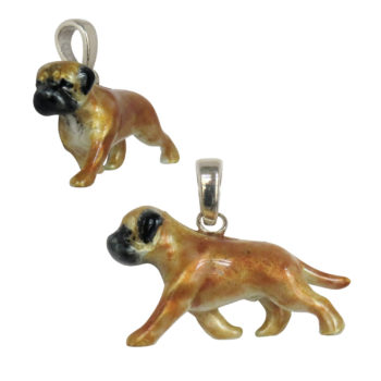 Large Trotting Bullmastiff with Custom Enamel Artwork--IN STOCK