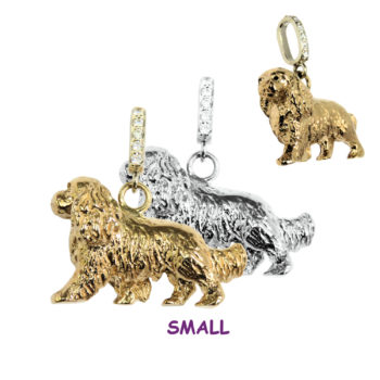 14K White Gold Cavalier King Charles Spaniel with Diamond Bail