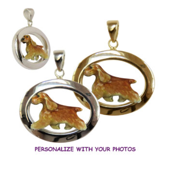 Custom Enamel English Cocker Spaniel in Classic 14K Gold or Sterling Oval