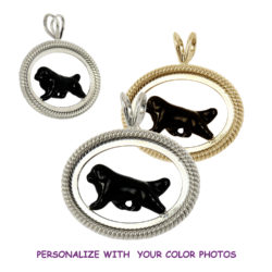 14K Gold or Sterling Newfoundland with Personalized Color Artwork in Braided Oval
