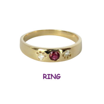 14K Gold Band Ring with Inset Diamond Paws and Center Ruby