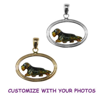 Wire Dachshund with Custom Enamel Overlay in Double Oval with 14K Gold and Sterling Choices