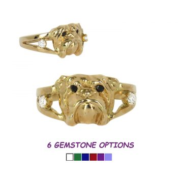 14K Gold Bulldog Ring with Diamonds
