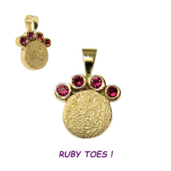 14K Gold Dog Paw Charm Pendant with Ruby Toes