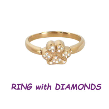 14K Gold Exquisite Paw Ring Pavé with Diamonds