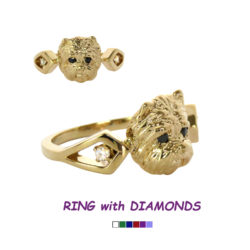 14K Gold West Highland White Westie Ring with Diamonds