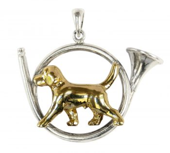 Gorgeous Beagle Trotting in Our Hunting Horn--3 Choices in 14K Gold and Sterling Silver