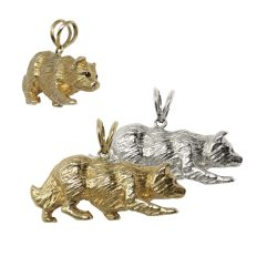 14K Gold or Sterling Silver Large Border Collie in Crouch Pendant
