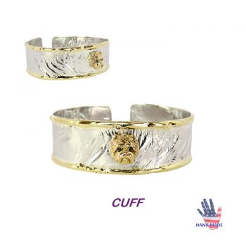 Handmade Sterling Cuff Bracelet with 14K Gold Westie and Wire Edging