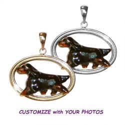 Gordon Setter with Custom Enamel Overlay in Double Oval with 14K Gold or Sterling