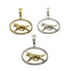 Trotting Siberian Husky in Double Grooved Oval Charm in 14K Gold and Sterling Silver