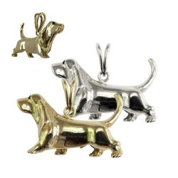 Gorgeous Large Trotting Basset Hound in 14K Gold or Sterling Silver