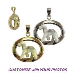 Custom Enamel Bedlington Terrier in Classic 14K Gold or Sterling Silver Oval