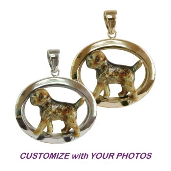 Custom Enamel Border Terrier in Classic 14K Gold or Sterling Silver Oval