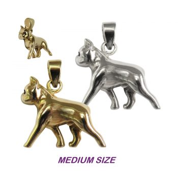 Gorgeous Medium Trotting Boston Terrier in 14K Gold or Sterling Silver