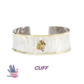 Handmade Sterling Cuff Bracelet with 14K Gold Cavalier King Charles Spaniel and Wire Edging