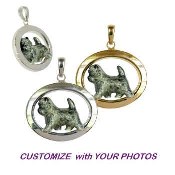 Custom Enamel Cairn Terrier in Classic 14K Gold or Sterling Silver Oval