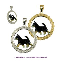 Custom Enamel Smooth Chihuahua in Classic 14K Gold or Sterling Silver Rope