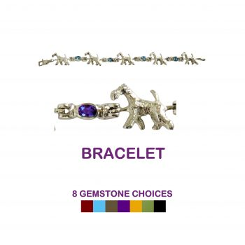 14K Gold or Sterling Silver Airedale Terrier Bracelet with Oval Gemstone Links