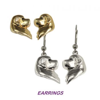 14K Gold or Sterling Cavalier King Charles Spaniel Earrings Featuring Profile Heads with Black Diamond Eyes
