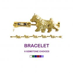 14K Gold Norwich Terrier Bracelet with Diamond and Gemstone Links