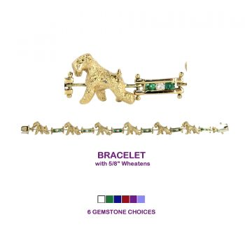 14K Gold Soft Coated Wheaten Terrier Bracelet with Diamond and Gemstone Links