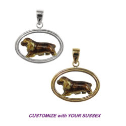 Sussex Spaniel with Custom Enamel in Double Oval with 14K Gold or Sterling