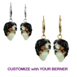 14K Gold or Sterling Bernese Mountain Dog Earrings with Custom Enamel Artwork