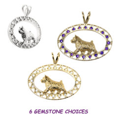 Norwich Terrier 14K Gold in Filigree Oval with Diamonds or Other Gemstones