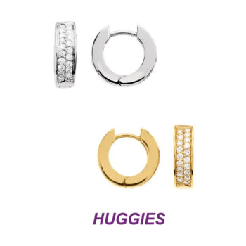 14K Gold Gorgeous Huggie Reversible Earrings with Double Row of Diamonds