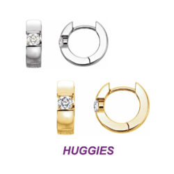 14K Gold Gorgeous Huggie Reversible Earrings with 10 point Diamonds