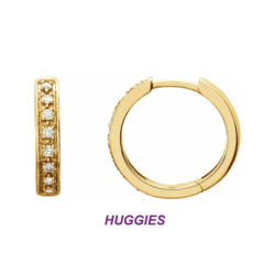 14K Yellow Gold Gorgeous Huggie Reversible Earrings with Sparkling Diamonds