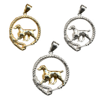 Stunning Brittany in Leash Charm Pendant with 14K Gold, Sterling, or Combo