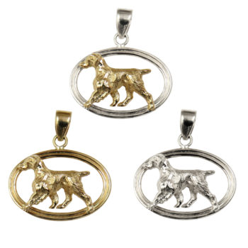 Brittany in Double Oval Pendant Charm with 14K Gold and Sterling Choices