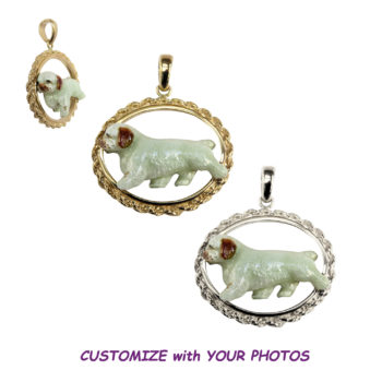 Custom Enamel Clumber Spaniel in Classic 14K Gold or Sterling Silver Oval Rope Charm
