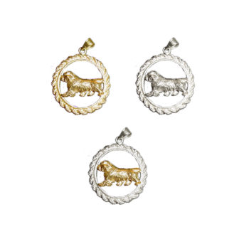 14K Gold or Sterling Clumber Spaniel Trotting in Classic Rope Charm