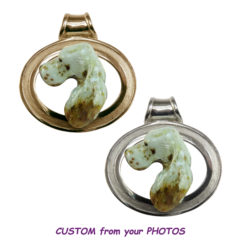 Large English Setter Head with Custom Enamel on Textured Grooved Oval