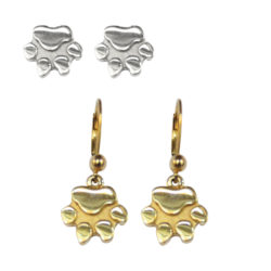 14K Gold or Sterling Silver Small Dog Paw Earrings