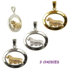 14K Gold, Sterling, or Combo Sussex Spaniel Trotting in Narrow Glossy Oval