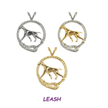 Stunning Vizsla in Leash Charm Pendant with 14K Gold, Sterling, or Combo